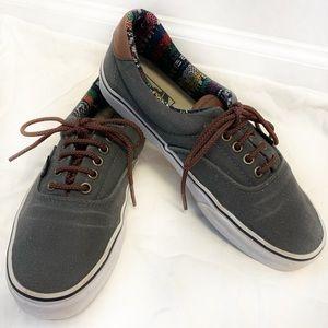 Vans Gray Leather Skate Shoe Tribal T&L Era